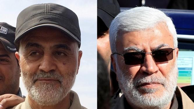 Thiếu tướng Qasem Soleimani của Iran và chỉ huy dân quân Abu Mahdi al-Muhandis của Iraq tử nạn sau đòn không kích nghi do Mỹ thực hiện (Ảnh: Reuters)