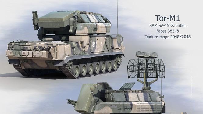 Tổ hợp tên lửa đất-đối-không Tor-M1 do Nga chế tạo (Ảnh: Precise3DModeling)