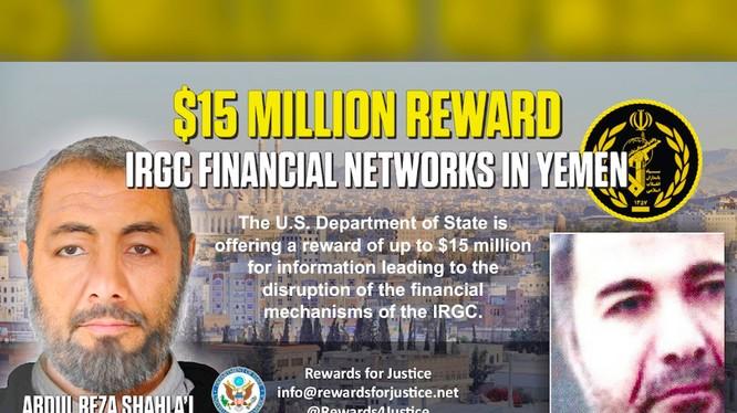 Mỹ từng treo thưởng 15 triệu USD cho các thông tin liên quan tới các hoạt động của Abdul Reza Shahlai (Ảnh: NYPost)