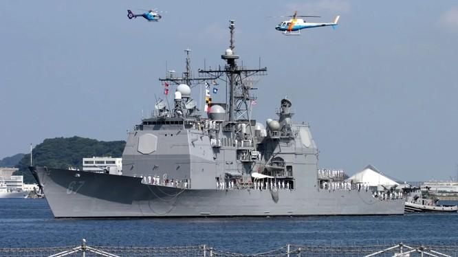 Tàu tuần dương tên lửa dẫn đường USS Shiloh của Mỹ (Ảnh: SCMP)