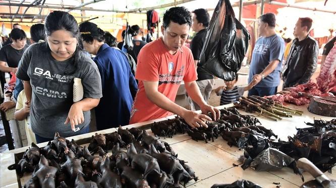 Các loài động vật hoang dã được bày bán công khai tại khu chợ Tomohon, Bắc Sulawesi, Indonesia (Ảnh: Bloomberg)