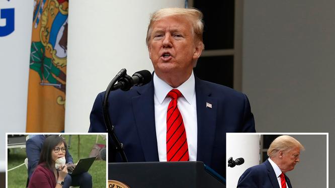 Tổng thống Trump hủy ngang họp báo sau màn tranh cãi với phóng viên gốc Á (Ảnh: The Sun)