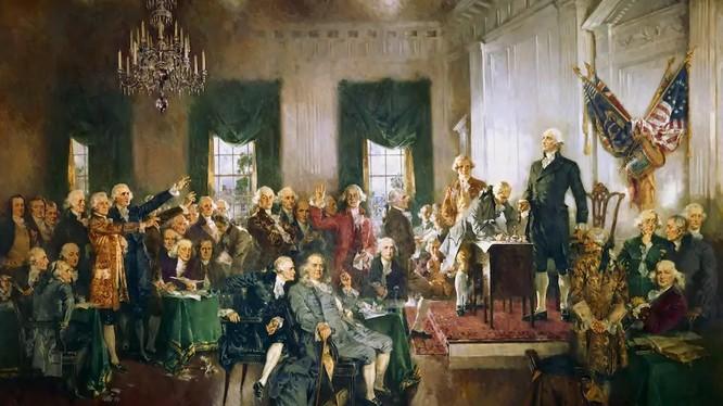 """Bức tranh """"Cảnh tại lễ ký Hiến pháp nước Mỹ"""" của Howard Chandler Christy (Ảnh: Washington Post)"""