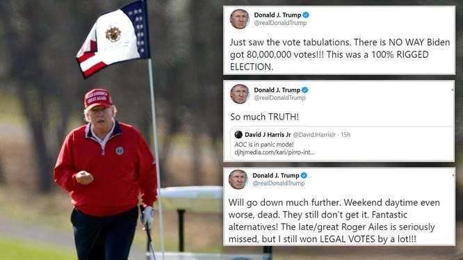 Tổng thống Trump đi đánh golf và tung loạt tweet cáo buộc bầu cử gian lận (Ảnh: DailyMail)