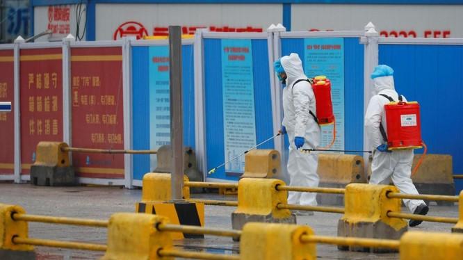 Nhân viên y tế tiến hành khử trùng trước một khu chợ ở Vũ Hán, tỉnh Hồ Bắc, Trung Quốc (Ảnh: Reuters)