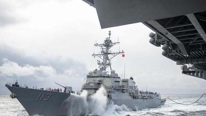 Tàu USS John Finn của Mỹ tại khu vực Ấn Độ-Thái Bình Dương ngày 14/1/2021 (Ảnh: SCMP)