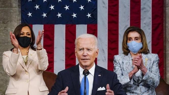 Tổng thống Mỹ Joe Biden trong bài phát biểu trước Quốc hội (Ảnh: AP)