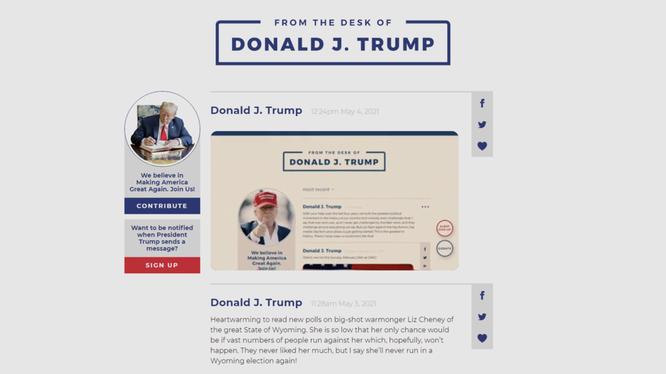 Một ảnh chụp màn hình từ địa chỉ https://www.donaldjtrump.com/desk (Ảnh: RT)