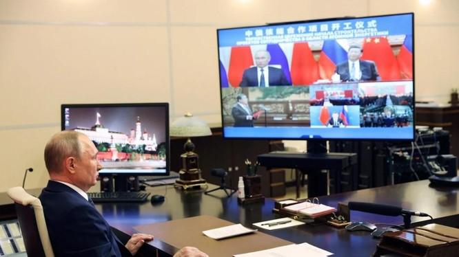 Tổng thống Nga Vladimir Putin tham gia buổi lễ khởi công trực tuyến (Ảnh: AP)