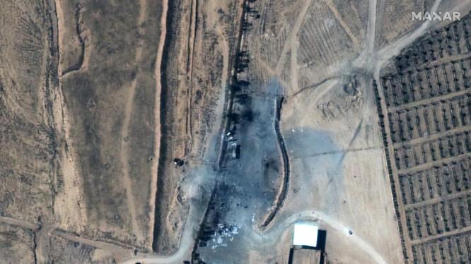Hình ảnh hiện trường vụ không kích do Mỹ thực hiện ở biên giới Syria-Iraq (Ảnh: Maxar)
