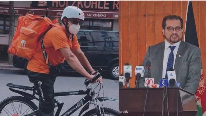 Ông Syed Ahmad Sadat khi còn là bộ trưởng ở Afghanistan (phải) và khi trở thành nhân viên giao hàng ở Đức (Ảnh: Al Jazeera)