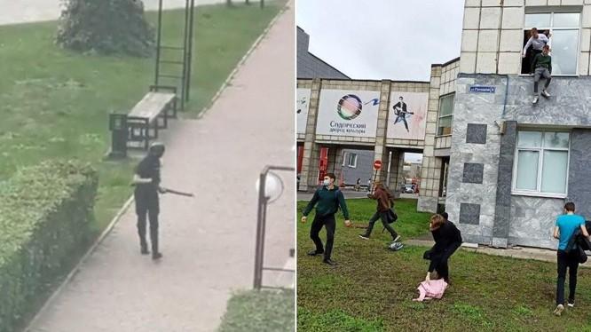 Những hình ảnh về vụ xả súng ở Nga được đăng tải trên mạng xã hội (Ảnh: RT)