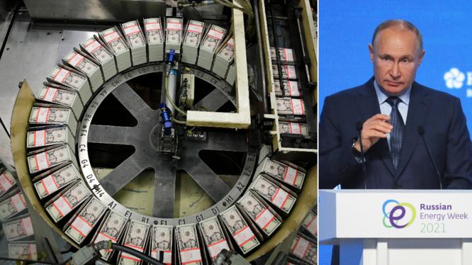 Tổng thống Putin nói rằng Mỹ đang tự làm suy yếu vị thế thống trị của đồng USD (Ảnh: Reuters)