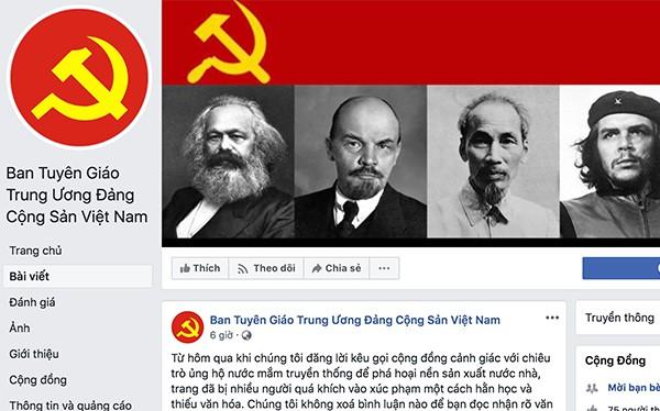 Trang Facebook mạo danh Ban Tuyên giáo Trung ương.