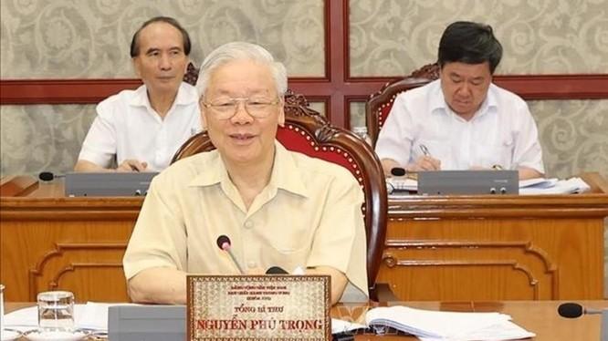 Tổng Bí thư Nguyễn Phú Trọng phát biểu tại cuộc họp. Ảnh: TTXVN.