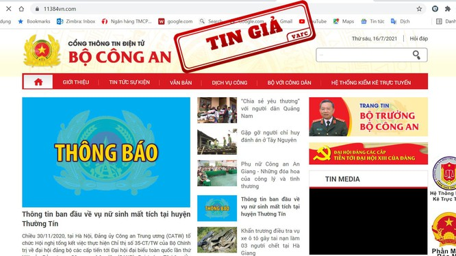 Website giả mạo Bộ Công an bị gắn nhãn tin giả. Ảnh: VAFC.