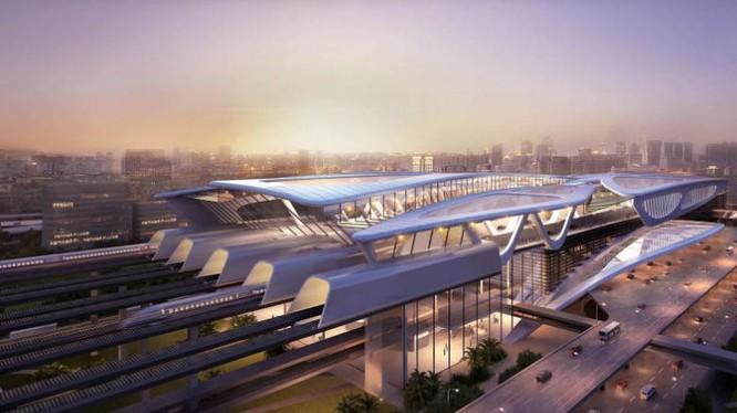 Hình họa phác cảnh Tuyến đường sắt cao tốc Tân Long