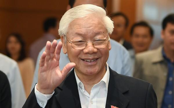 Tổng bí thư Nguyễn Phú Trọng bên hành lang Quốc hội sáng 23/10. Ảnh: Ngọc Thắng/VnExpress