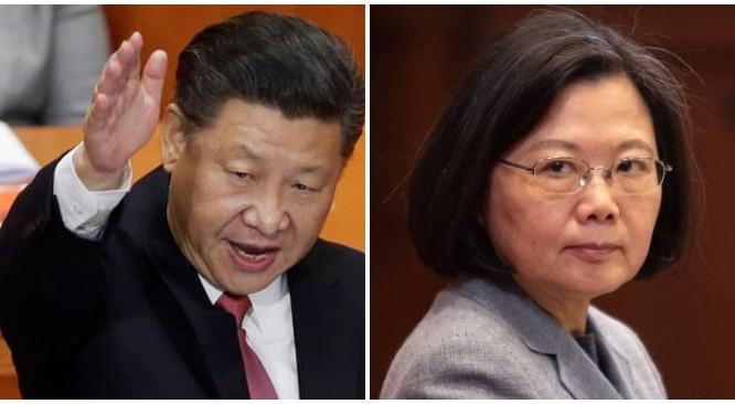Chủ tịch Trung Quốc Tập Cận Bình, Tổng thống Đài Loan Thái Anh Văn. (Ảnh: Bloomberg).