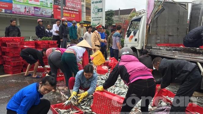 Thấy chiếc xe ôtô đông lạnh bị lật, 2 tấn cá tươi đổ tràn ra ngoài đường, người dân tập trung lại thu gom bỏ vào khay nhựa, xếp gọn gàng giúp tài xế.