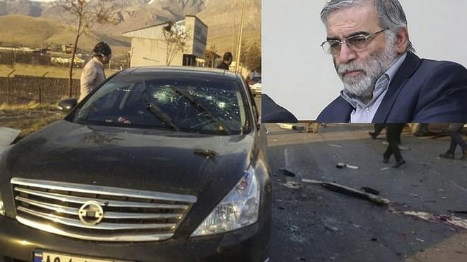 Hiện trường vụ ám sát nhà khoa học hạt nhân Iran, Mohsen Fakhrizadeh.
