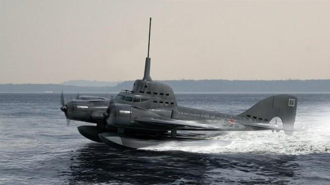 Mô hình thiết thủy phi cơ lai tàu ngầm của Liên Xô trong giai đoạn đầu những nă 1930 (Ảnh: Precise3d)