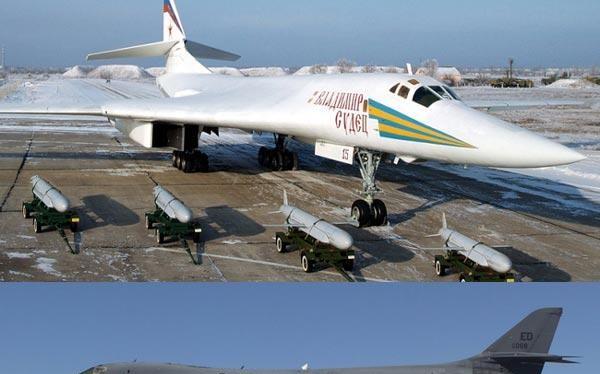 TU-160 (ở trên) có khả năng mang theo 12 tên lửa hành trình tấn công mặt đất tầm siêu xa Kh-55SM. B-1B Lancer (ở dưới) có thể mang theo 24 đạn tấn công ngoài tầm phòng không điểm AGM-158 JASSM.