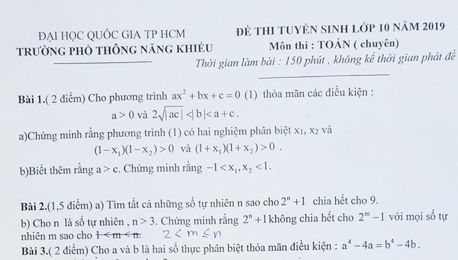 Đề thi môn toán tuyển sinh vào lớp 10 của Trường Phổ thông Năng khiếu, ĐH Quốc gia TP. Hồ Chí Minh