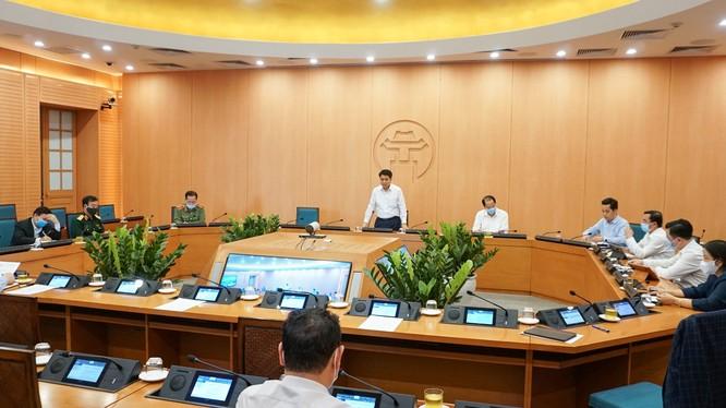 Họp Ban Chỉ đạo phòng, chống dịch COVID-19 TP. Hà Nội. Ảnh: Nguyễn Khánh