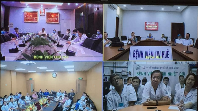 Các chuyên gia 3 miền hội chẩn trực tuyến để đưa ra chỉ định ghép phổi cho bệnh nhân 91. Ảnh: Lê Hảo