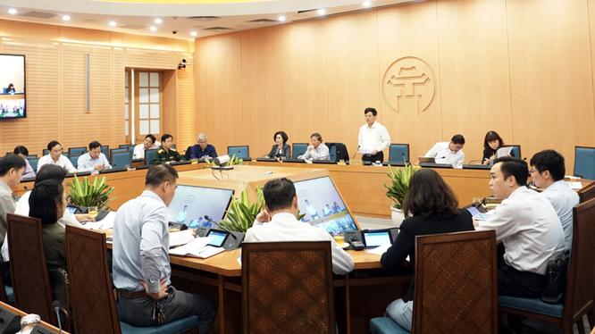 Hà Nội họp Ban Chỉ đạo phòng, chống dịch COVID-19 (Ảnh: Phú Khánh)