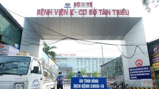 Bệnh viện K không tiếp nhận bệnh nhân đến khám bệnh (Ảnh - Thảo Vy)