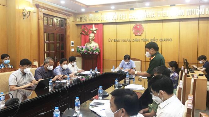 UBND tỉnh Bắc Giang họp với Bộ phận thường trực đặc biệt Bộ Y tế (Ảnh - Hoàng Dương)