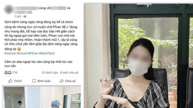 """Cô V.P.A. """"khoe"""" được tiêm vaccine phòng COVID-19 của Pfizer trên mạng xã hội (Ảnh - FB)"""