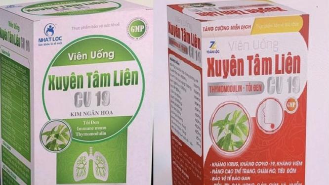 Thực phẩm bảo vệ sức khỏe viên uống Xuyên Tâm Liên giả mạo (Ảnh - Cục ATTP)