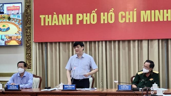 Bộ trưởng Bộ Y tế Nguyễn Thanh Long phát biểu tại cuộc họp (Ảnh - Thái Bình)