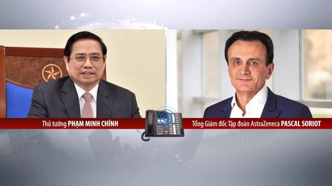 Thủ tướng Chính phủ Phạm Minh Chính điện đàm trao đổi với Giám đốc Điều hành tập đoàn AstraZeneca (Ảnh - BYT)