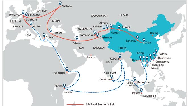 """Bản đồ sáng kiến """"vành đai - con đường"""" của Trung Quốc."""
