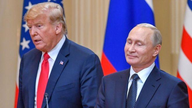 Hai ông Donald Trump và Vladimir Putin trong cuộc họp thượng đỉnh Nga - Hoa Kỳ năm 2018.