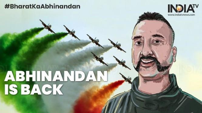Áp phích của kênh truyền hình Ấn Độ chào đón Trung tá Abhinandan Varthaman được Pakistan trả về nước như một người hùng.