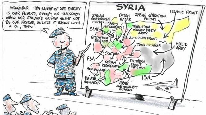 Tranh biếm họa về cách thức phương Tây thực hiện cuộc chiến chống ISIS.