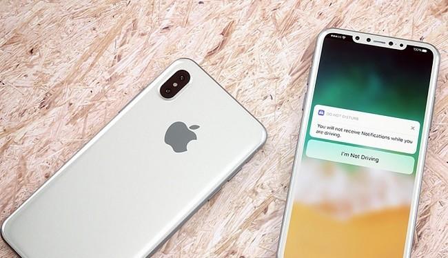 Hình ảnh iPhone 8 màu trắng, được vẽ dựa trên các thông tin rò rỉ của nó
