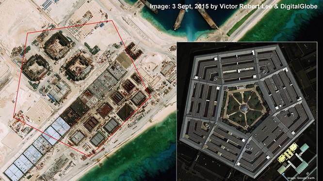 Trung Quốc đang gia tăng sức mạnh bành trướng ở Biển Đông. Ảnh: Các công trình kiên cố phục vụ mục đích quân sự đang được Trung Quốc ráo riết xây dựng trên Đá Chữ Thập tại quần đảo Trường Sa của Việt Nam