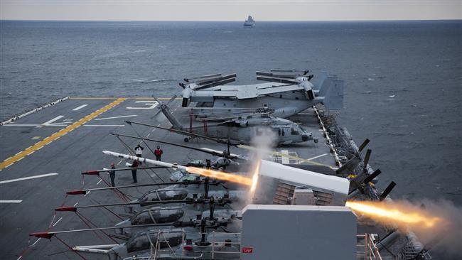 Sức mạnh tên lửa phòng thủ trên tàu sân bay Mỹ (ảnh minh họa)