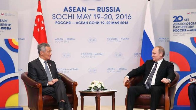 Tổng thống Nga Putin và Thủ tướng Singapre Lý Hiển Long tại Sochia (ảnh minh họa)