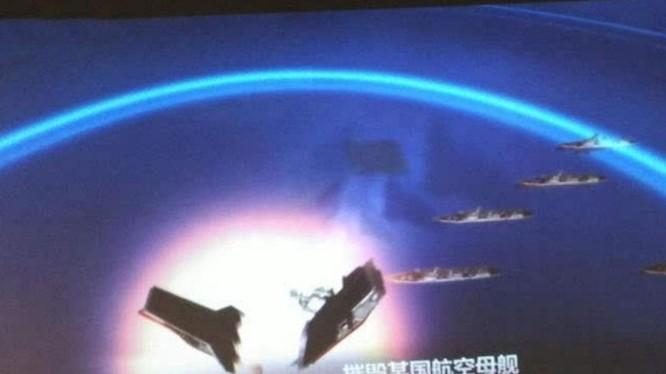 Gần đây, một chùm hình ảnh mô phỏng tên lửa đạn đạo tầm trung Đông Phong-21D Trung Quốc tấn công tàu sân bay xuất hiện trên mạng. Nguồn ảnh: Sina Trung Quốc