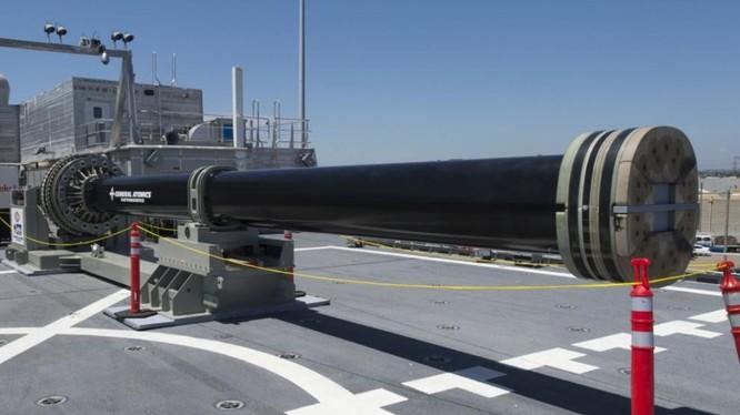 Pháo ray điện do Công ty BAE Systems chế tạo cho tàu khu trục DDG 1000. Nguồn ảnh: Internet.