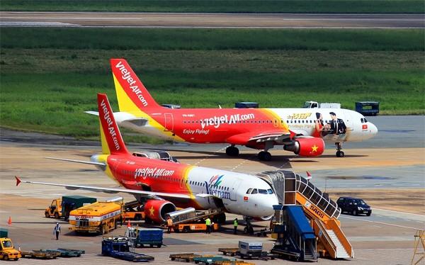 Máy bay của hãng VietJet ở sân bay Nội Bài (ảnh minh họa).
