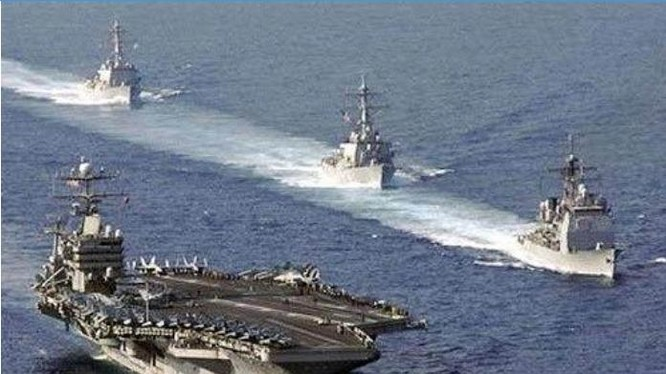Biên đội tàu sân bay Hạm đội 7 Hải quân Mỹ. Nguồn ảnh: News.qq.com