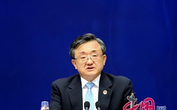 Thứ trưởng Ngoại giao Trung Quốc Lưu Chấn Dân tham gia cuộc họp báo sáng nay. Ảnh: China.com.cn.
